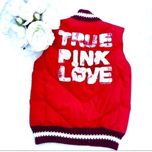 "VICTORIAS SECRET PINK Puffer ""True Pink"" Knit Vest"